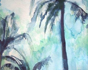 "Archival Print of Original Watercolor ""Palms"""