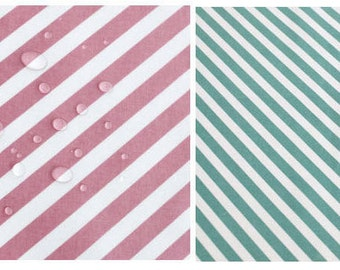 Laminated Cotton Fabric Diagonal Lines - Pink or Mint - By the Yard 53631