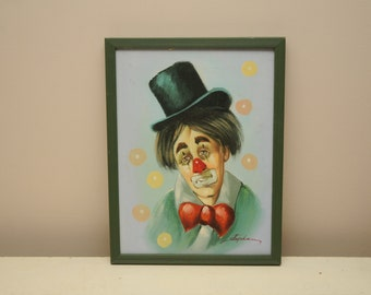 Vintage Original Sad Clown Painting Circus Green Red