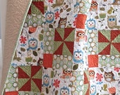 Modern Baby Girl Quilt featuring Adorable Owls White Brown Coral Grey Light Blue Tan Green