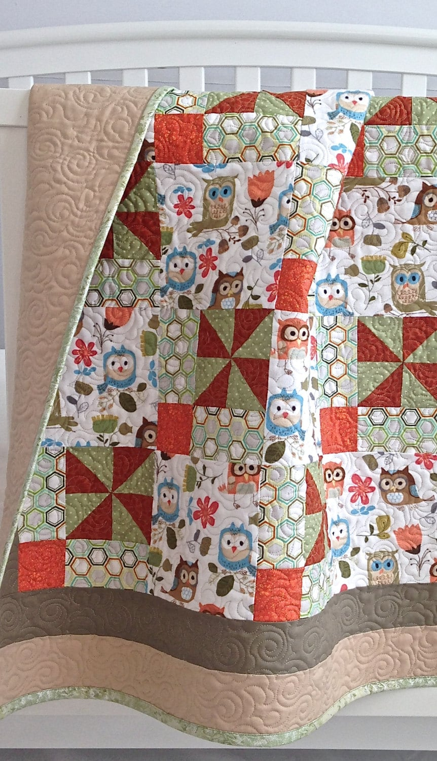 Modern Baby Girl Quilt Featuring Adorable Owls White Brown