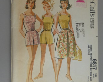 Vintage McCalls 6817 Misses Bathing Suit and Skirt Size 14