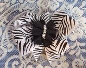 Zebra Hair Bow - Black & White Zebra Hair Bow - Black and White Hair Bow Clip - Bling Accent Hair Bow - Boutique Hair Bow