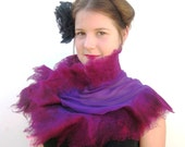 Silk Wool Nuno Felt Wrap Shrug Purple Magenta Plum