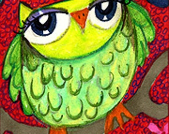 Owl Art, Funny Owl Print, Green Owl Print, Whimsical Owl Art, Children's Room Decor, Art For Kids, Green Jungle Owl by Paula DiLeo_122613