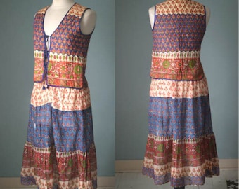 70s Indian Gauze Skirt & Waistcoat by Adini