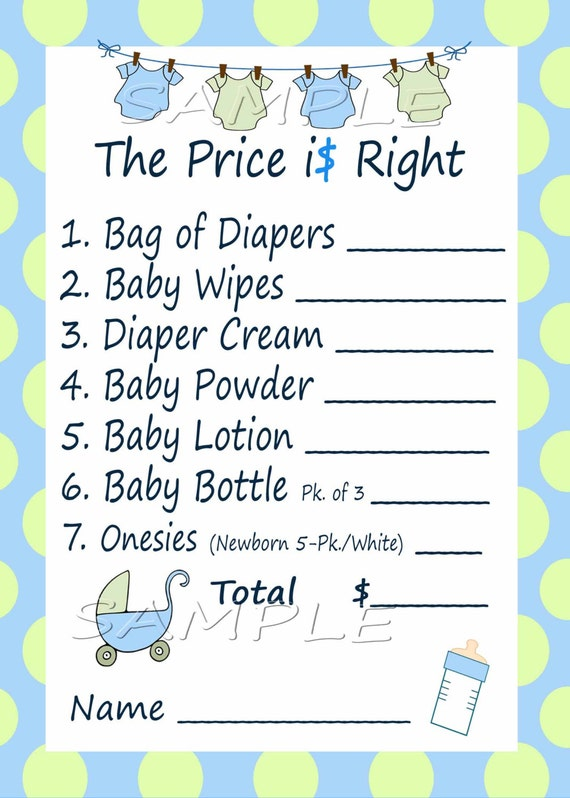 Price Is Right Baby Shower Game Blue Amp Green Clothes Line