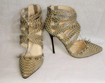 Snake Print Spiked Heels 7