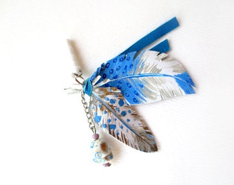Blue Native Leather Feathers - iPhone Headphone Plug/ Dust Plug - Cellphone Accessories