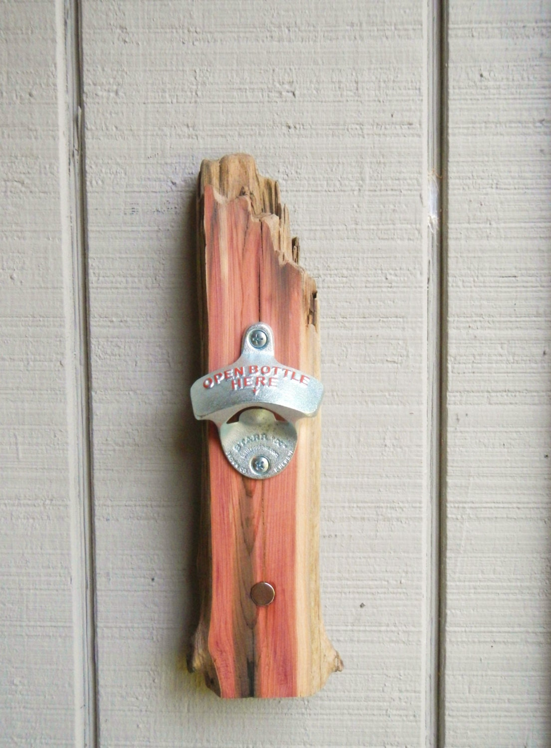 Driftwood Bottle Opener With Magnet Cap Catcher Wall Mounted