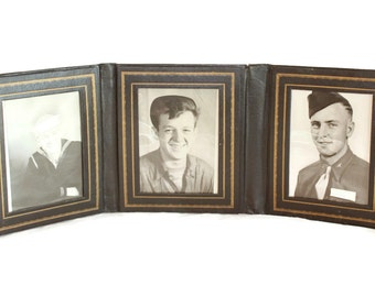 1940s black and white portrait photos. Three young men photo. Cabinet photo. Military man. WWII photos. Navy man.