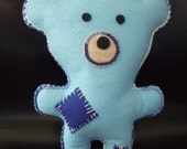 Felt Baby & Childrens Blue Teddy Bear Soft Doll Toy,suitable from birth, Hand Made Felt Toy.  First Teddy Bear, Baby shower,Holiday gift