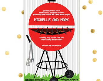 Grill - Barbecue BBQ Tail Gate Party Summer Cookout Wedding Shower Couples Pool Bachelor - Custom Quantities Available Invitation