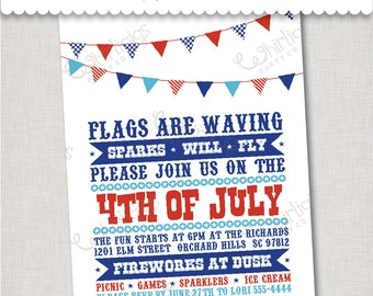 4th of July Event Invitation - Printable Digital File or Printed Invitations with Envelopes - FREE SHIPPING
