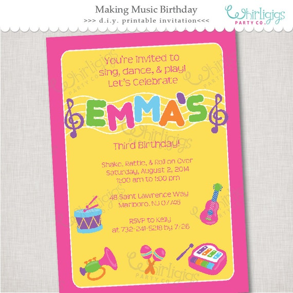 Music Party Invitation - Printable Digital File or Printed Invitations with Envelopes - FREE SHIPPING