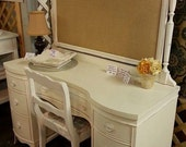 Vintage Mahogany Desk w/ Upcycled Upholstered Burlap Bulletin Board Off White Distressed Philly Area Pick Up