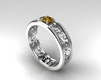 Yellow sapphire ring, engagement ring, filigree, white sapphire, white gold, yellow gold, engagement ring, wedding ring
