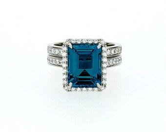 engagement ring set emerald cut london blue topaz ring
