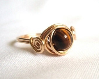 Genuine Tiger Eye Gemstone Ring, Wire Wrapped Ring, Tigereye Solitaire Ring, Tigers Eye Gold Ring, Brown and Gold Ring