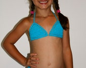SMALL - Cream Children's crotchet swim bikini- SMALL-age 6-8yrs