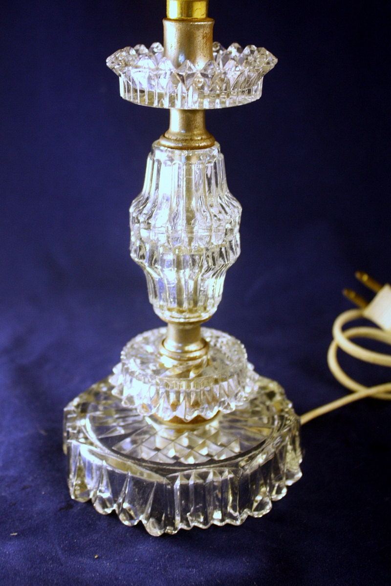 Vintage Crystal Glass Boudoir Table Lamp