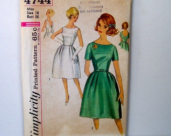 50s 60s Dress Vintage Sewing Pattern . Bust 36 . Uncut