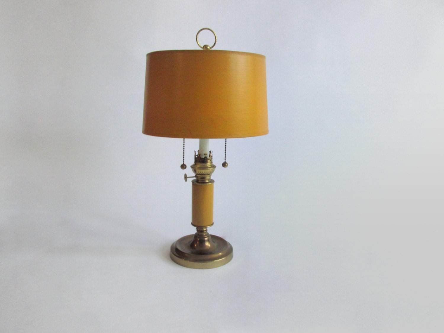 mustard yellow desk lamp mid century pull by owlsongvintage. Black Bedroom Furniture Sets. Home Design Ideas