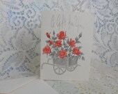 Gifts Cards 1950's Set of Five Red roses in Silver Embossed Flower Cart  A Gift For You A Quaint Shop Original  Blank Inside