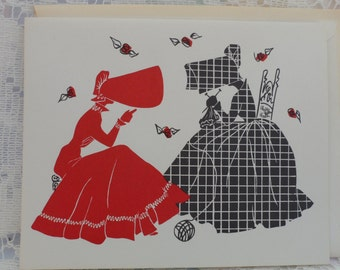 Victorian Large Bonnet Ladies Silhouettes Note Cards Blank Inside 1950's Paper Ephemera