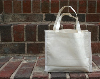 5 Unbleached Cotton Muslin Totes with handles - Perfect for Gift Bags, Packaging, Embroidery, Stamping, DIY Favors