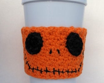Jack Skellington Orange Pumpkin Crochet Coffee Cup Cozy