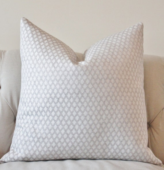 White Decorative Pillows For Bed : Light Gray and White Pillow Silver Grey Woven Geometric