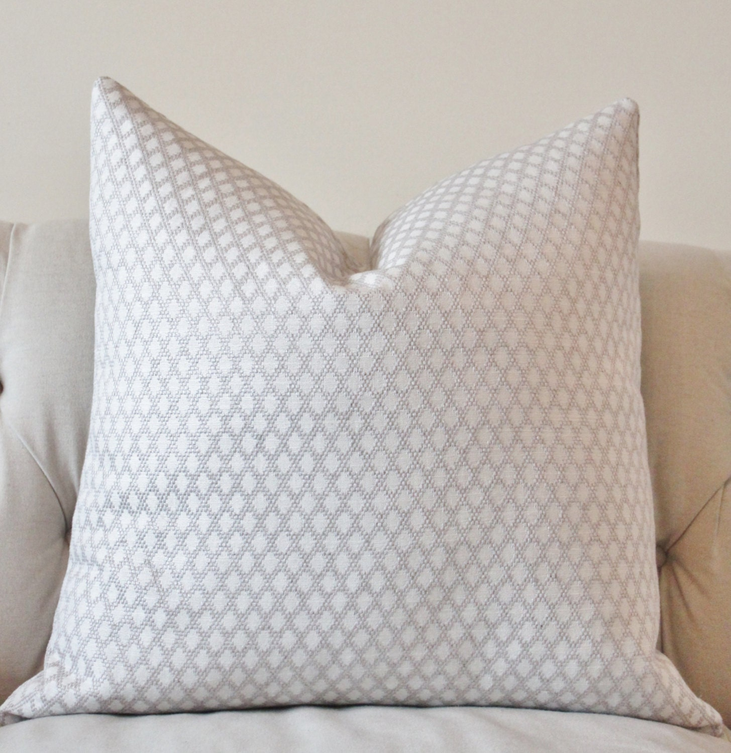 Gray Throw Pillows For Bed : Light Gray and White Pillow Silver Grey Woven Geometric