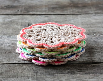 Hand Crocheted Cotton Flower Coasters - Set of 6 - Rainbow Neon and Nude