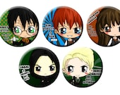 Harry Potter Chibi Pinback Button Set - Ron Weasley, Hermione Granger, Draco Malfoy, Severus Snape, Harry Potter