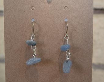 Blue Agate Silver Double Drop Fish Hook Earrings
