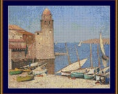 Ships At Port Collioure Cross Stitch Pattern