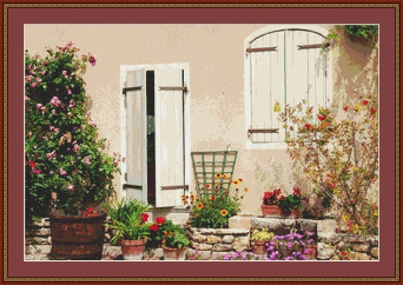 French Courtyard Garden Cross Stitch Pattern /Digital PDF Files /Instant downloadable