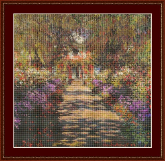 Main Path Through The Gardens At Giverny Cross Stitch Pattern /Digital PDF Files /Instant downloadable