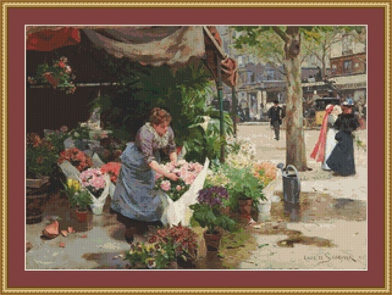 The Flower Market Cross Stitch Pattern /Digital PDF Files /Instant downloadable