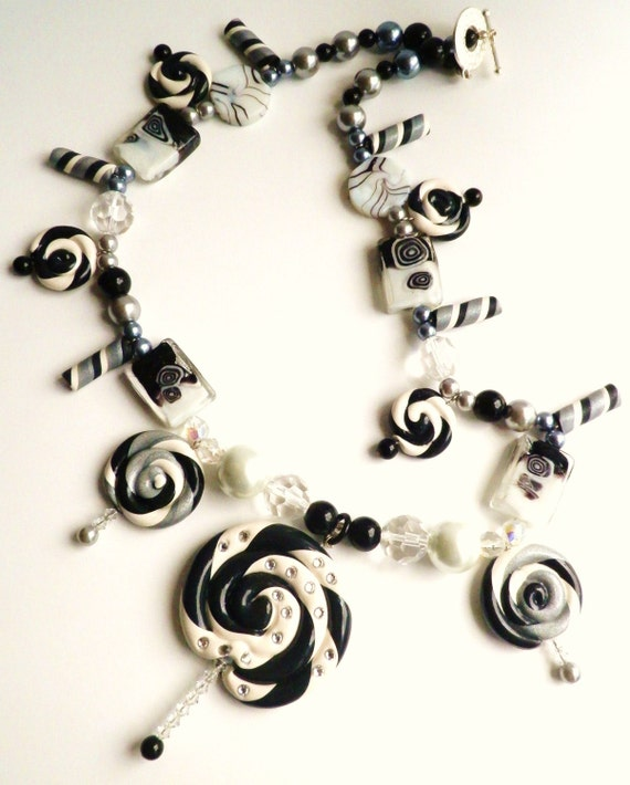 Tuxedo Swirl Black and White Polymer Clay Lollipop Necklace