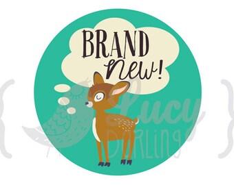 Newborn Baby Monthly Retro Animals Sticker - Just Born - Baby Girl or Baby Boy - Retro Animal Deer Design