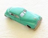 Vintage Robins Egg Blue Distressed Metal Toy Car, Vintage Toys, Olives and Doves
