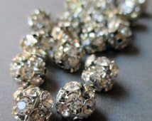 10 mm rhinestone beads clear platinum silver prong set vintage style disco ball medium-large, lot of 10 pcs