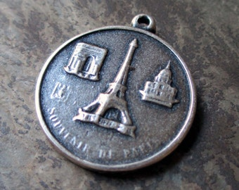 silver plated eiffel tower pendant or large charm paris france souvenir french st. christopher catholic medal