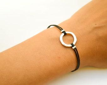 Karma bracelet, black cord bracelet with a silver circle charm, friendship bracelet, dainty minimalist jewelry, gift for her, spiritual