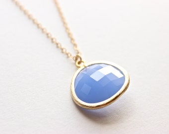 """Gold Necklace - Stone Necklace - Long Necklace - 28"""" - Opaque Sky Blue Large Glass Stone Pendant on Matte Gold Chain Necklace"""