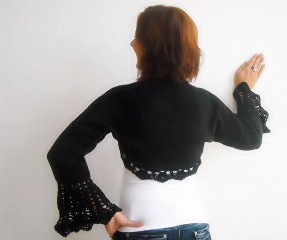 RESERVED Hand knit crochet shrug, black cotton bolero, size L, long sleeved