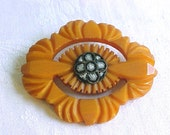 Large Butterscotch Bakelite Brooch with Micro Mosaic Center- Vintage 1930s Coat Pin - Beautiful Hand Carved Art Deco Design