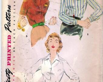 "Vintage 1954 Simplicity 4853 Shirt Blouses Sewing Pattern Size 16 Bust 34"" UNCUT"
